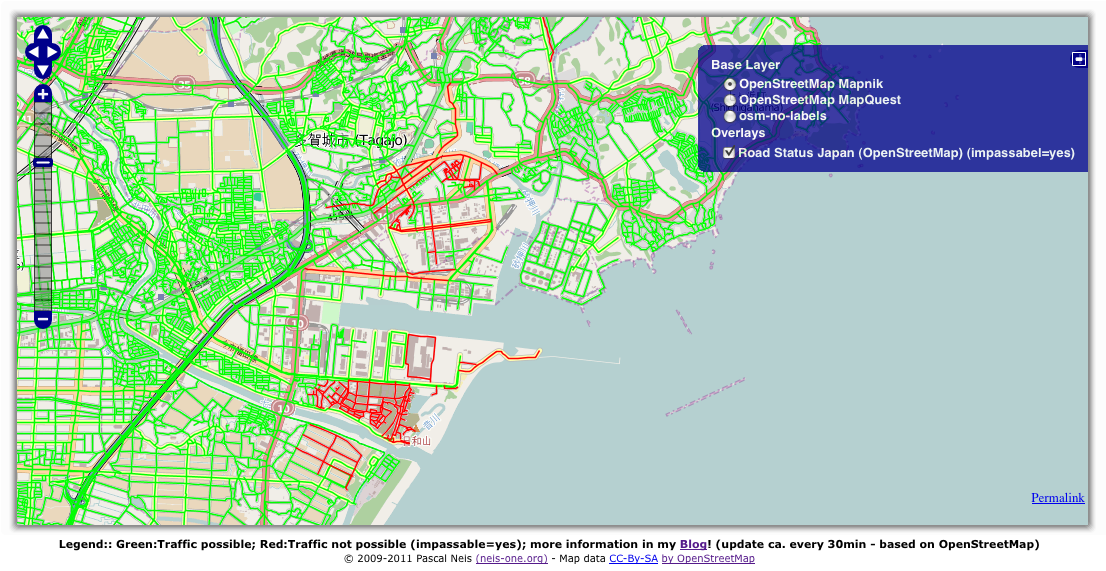 Road Status After The Earthquake In Japan Based On OSM Neis One - Html color map